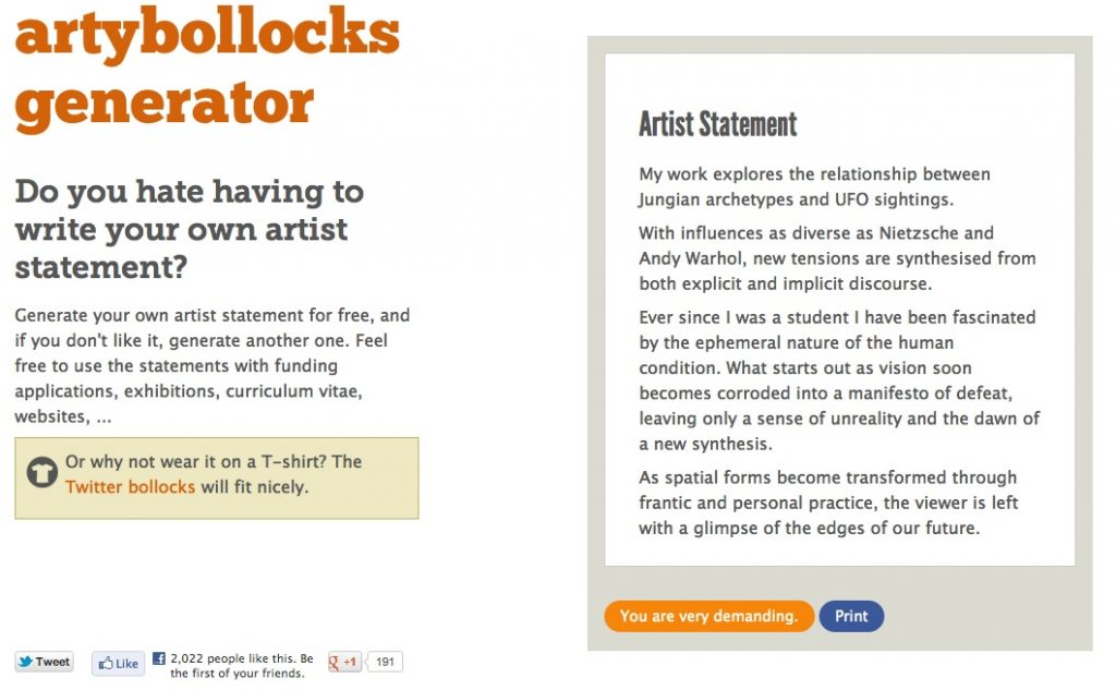 The Artist Statement  Why They Mostly Suck  Bmoreart  Baltimore