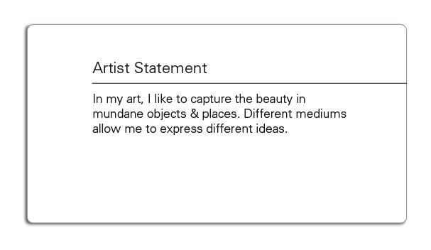 Simple artist statement