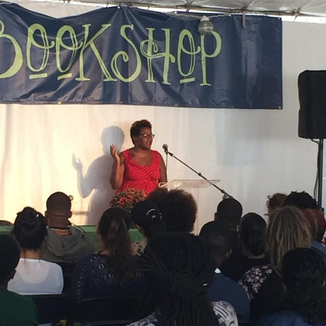 Fire Angelou performance at theivybookshop stage bmorebookfest fireangelou poetry bmoreart