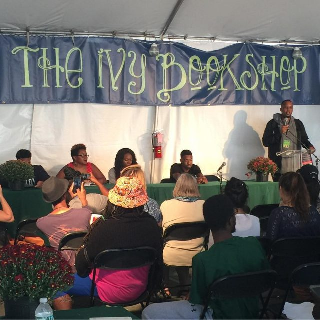 D Watkins introduces a poetry panel at theivybookshop stage bmorebookfesthellip