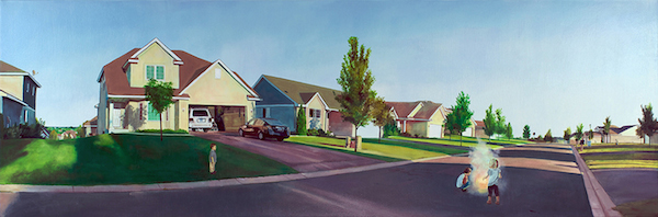 "Nate Burbeck. ""Lakeville, Minnesota"" 2011. Oil on Canvas. 24"" x 72"". Copyright Nate Burbeck. Courtesy of Anna Zorina Gallery, New York City."