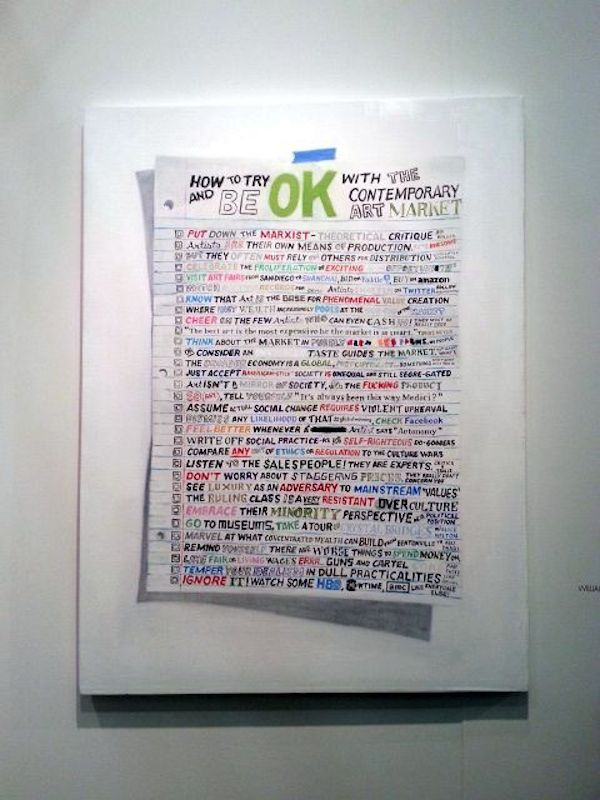 William Powhida, How to Try and be OK with the Contemporary Art Market, 2014 at Postmasters Gallery.