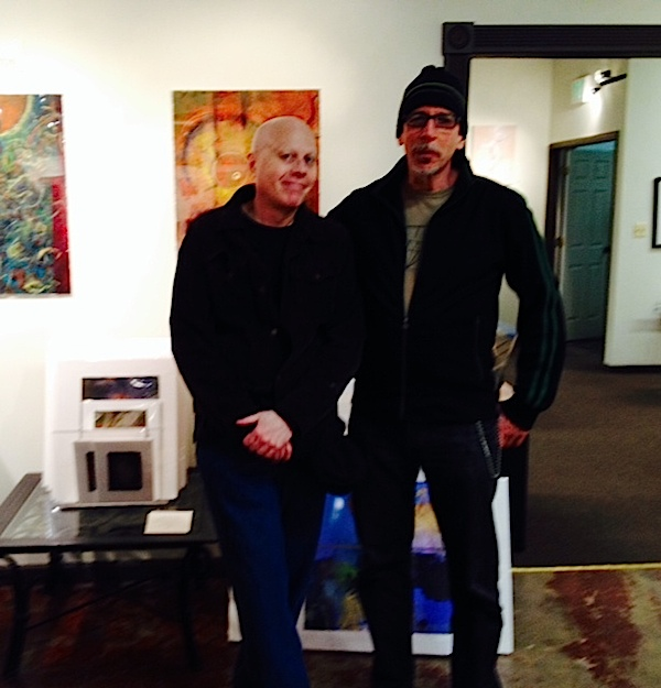 Jack Livingston and Tom Hill at Jack's opening at Fleckenstein Gallery in Hampden