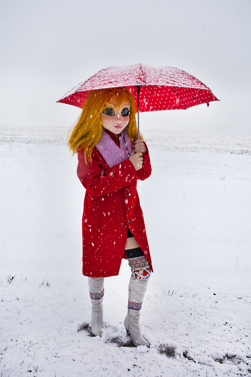 Laurie Simmons,Yellow Hair/Red Coat/Umbrella/Snow, 2014, Pigment print, 70 x 40 inches
