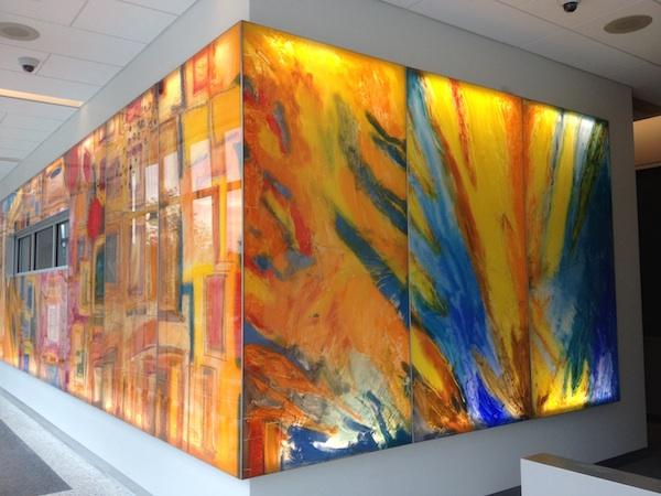 """In the Cut"" Oil, acrylic, aluminum and LED lights, 8' x 76', 2014 Maryland Department of Public Health"