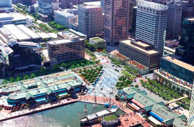 McKeldin Plaza Proposal from 'Pratt Street: Avenue of the Inner Harbor | Concept Development', by ASG and Olin Partnership, 2008