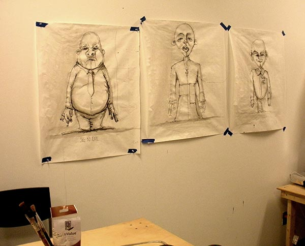 Work in studio - drawings Tiffany Lange