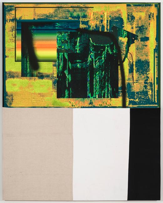 Chris Dorland Untitled (scanners), 2015 digital ink, vinyl, linen, stretcher bars 60x 48 in.