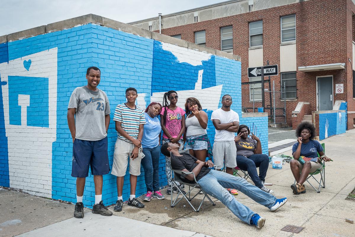 Mr. Gary's Team at their Mural Site near the Pennsylvania Avenue by Nate Larson
