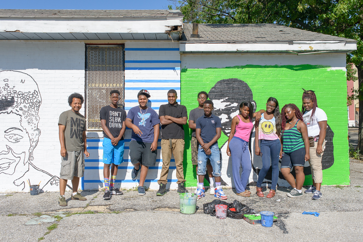 Mr. Iandry's Team at their Mural Site at William Mcabee Park, Baltimore by Nate Larson
