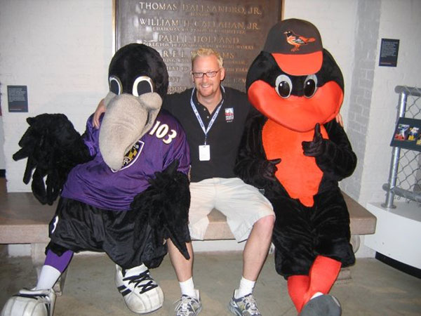 GREGG-and-mascots-at-Sports-Legends-at-Camden-Yards-2005-1