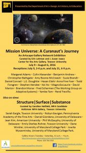 Exhibition: Mission Universe | A Curanaut's Journey @ Towson U @ Center for the Arts Gallery, Towson U | Towson | Maryland | United States