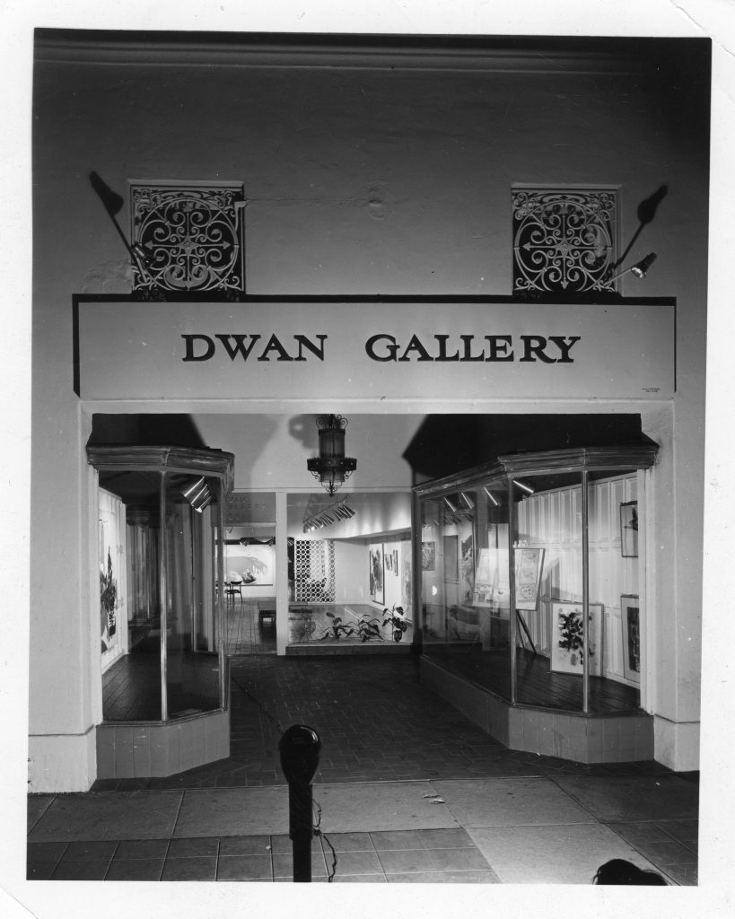 Exterior of the first Dwan Gallery, Broxton Avenue, Westwood, Los Angeles, 1961 Photographer unidentified Courtesy Dwan Gallery Archives