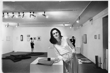 Virginia Dwan in her gallery during the exhibition Language III, Dwan Gallery, New York, May 1969 Photo: Roger Prigent Courtesy Dwan Gallery Archive